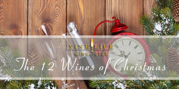 Christmas wooden background with clock, fir tree and champagne